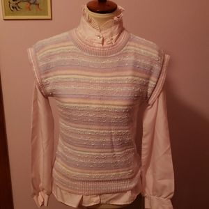 1980s 80s Vintage Sweater Set Puffy Sleeves M L